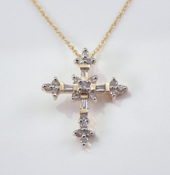 "14K Yellow Gold Diamond CROSS Pendant Necklace Religious Charm 18"" Chain"