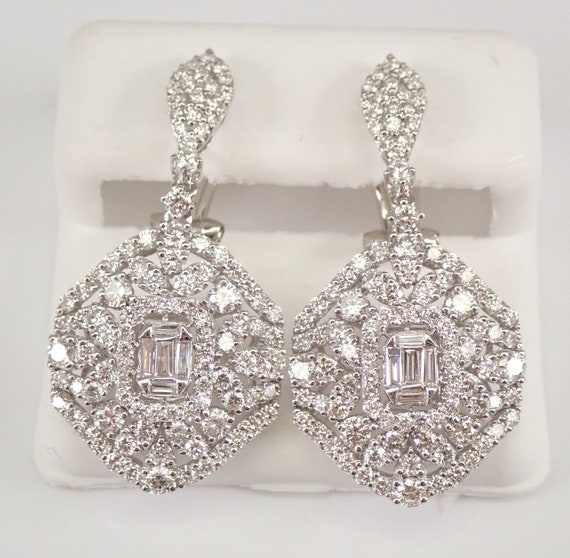 18K White Gold 3.58 ct Diamond Dangle Drop Earrings Omega Clasp Cluster Design