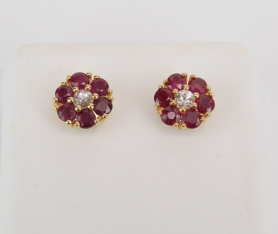 Ruby and White Sapphire Stud Earrings Flower Wedding Studs 14K Yellow Gold
