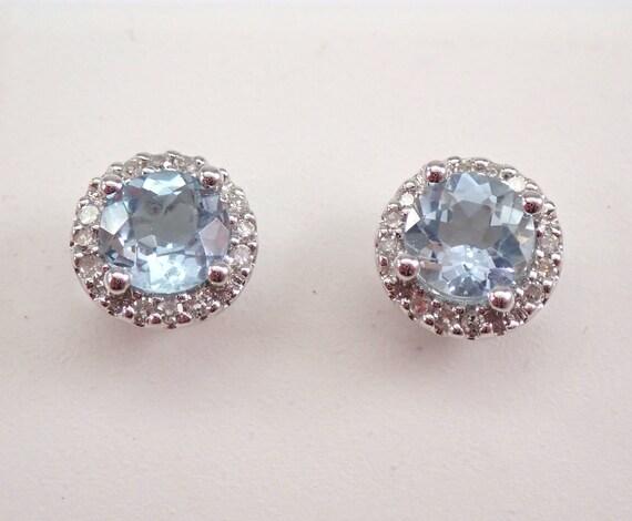 Aquamarine and Diamond Stud Earrings Halo Studs White Gold March Birthstone