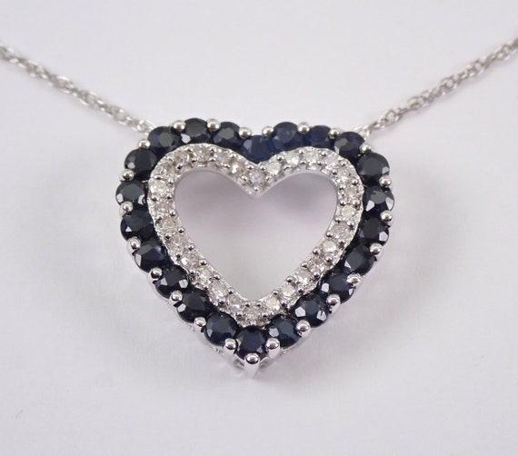 "14K White Gold Diamond and Sapphire Open Heart Pendant Necklace Chain 18"" September Birthstone"