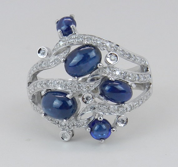 Diamond and Sapphire Ring Estate Vintage 14K White Gold Large Cocktail SIZE 9.75