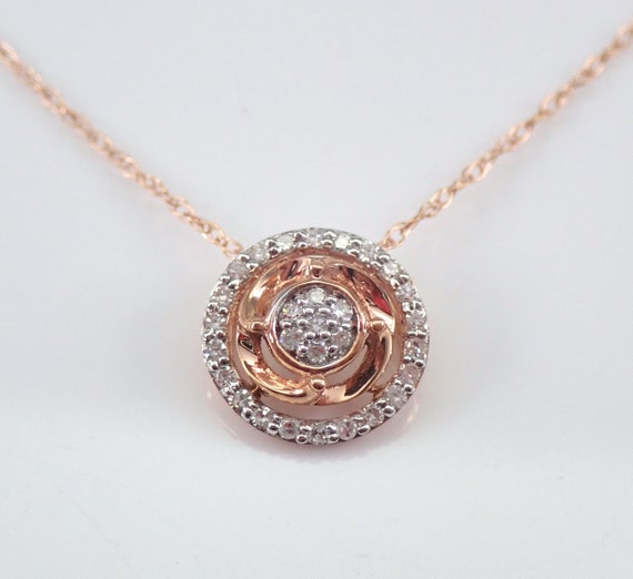 "Diamond Cluster Halo Drop Pendant Rose Gold Chain 18"" Wedding Necklace Gift"