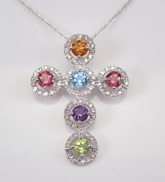 "14K White Gold Diamond and Multi Color Gemstone Cross Pendant Necklace 18"" Chain Religious Charm"