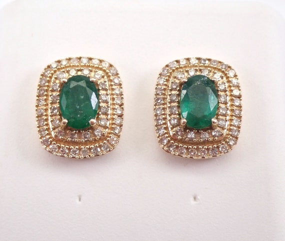 Emerald and Diamond Stud Earrings Double Halo Studs 14K Yellow Gold May Birthday