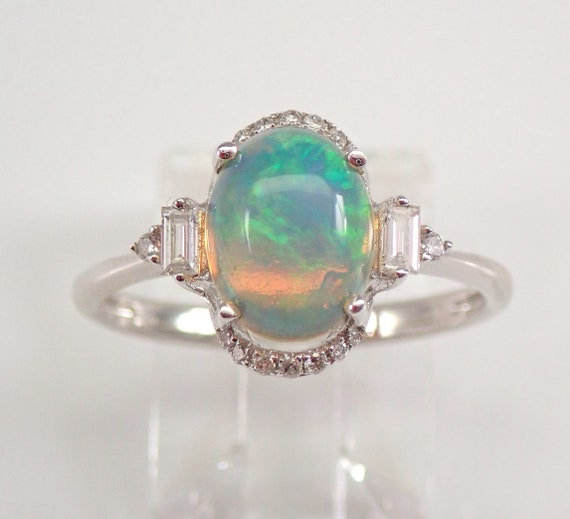 14K White Gold Diamond and Opal Engagement Ring Size 7 October Gemstone FREE Sizing