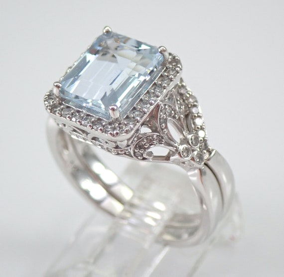 Antique Style Aquamarine and Diamond Engagement Ring Wedding Band Set 14K White Gold Size 7 FREE Sizing