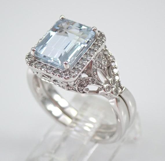 Antique Style Aquamarine and Diamond Engagement Ring Wedding Band Set 14K White Gold Size 7 FREE Sizing