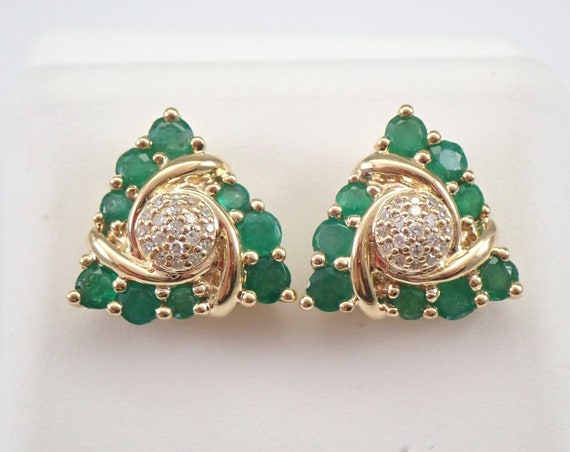 Emerald and Diamond Stud Earrings Cluster Studs Yellow Gold May Birthstone