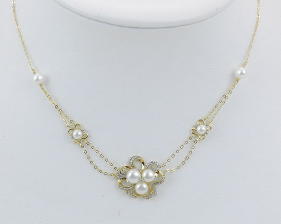 """Yellow Gold Pearl and Diamond Multi Strand Necklace Wedding Gift Chain 17"""""""