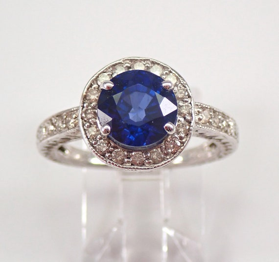 Vintage 14K White Gold Diamond and Sapphire Halo Engagement Ring Size 6.75 Chatham Sapphire Ring FREE Sizing