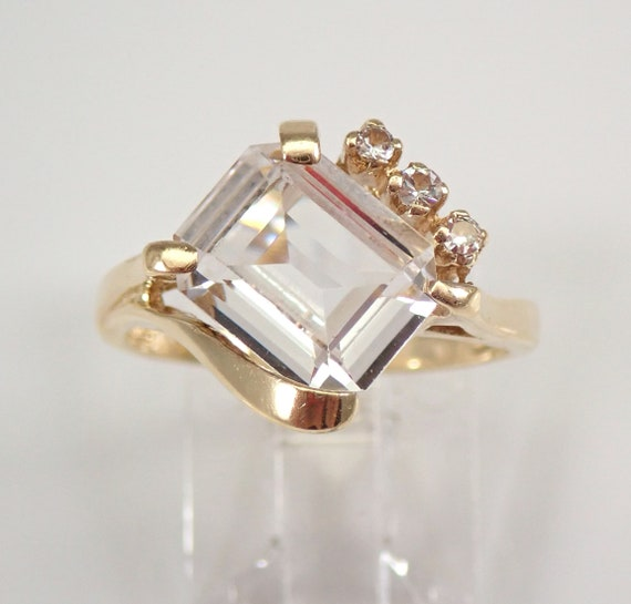 Antique Vintage Yellow Gold Emerald Cut Topaz Engagement Ring Size 6.25