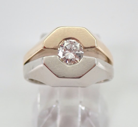 Vintage Mens Solitaire Diamond Wedding Ring Pinky Ring 14K Two Tone Gold Size 6