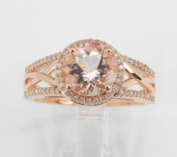 2.45 ct Morganite and Diamond Halo Engagement Ring Rose Gold Size 7 FREE Sizing