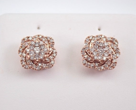 Rose Gold Diamond Studs Cushion Cut Shape Cluster Halo Stud Earrings