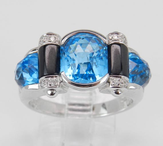 Blue Topaz Ring, Diamond Blue Topaz and Black Onyx Ring, 18K White Gold Statement Rubg, Right Hand Ring, December Birthstone Ring