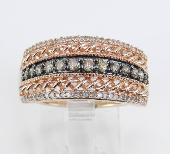 White and Cognac Diamond Wedding Ring Anniversary Band Rose Pink Gold Size 7 FREE Sizing