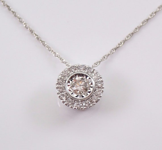 "White Gold Diamond Halo Pendant Necklace 18"" Chain Genuine Natural Round"