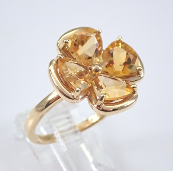 14K Yellow Gold 3 ct Trillion Citrine Flower Cluster Ring November Size 8 FREE Sizing