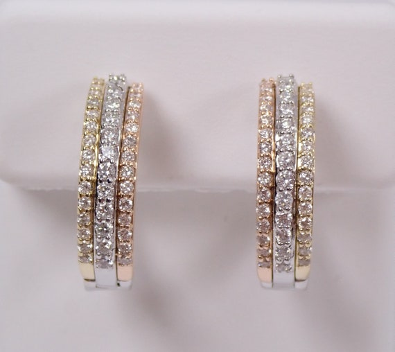 14K White Yellow Rose Gold Diamond Hoop Earrings, Tri Color Gold Diamond Hoops Huggies Gift Modern Design