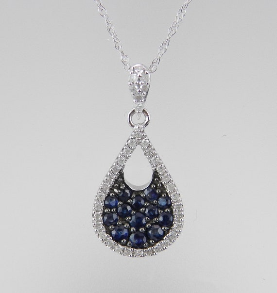 14K White Gold Pendant, Sapphire Cluster Necklace, Sapphire and Diamond, Sapphire Drop Pendant, September Gemstone, White Gold Chain