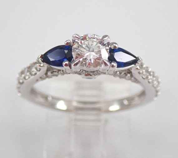 14K White Gold Sapphire and Diamond Three Stone Engagement Ring Size 6.75 FREE Sizing