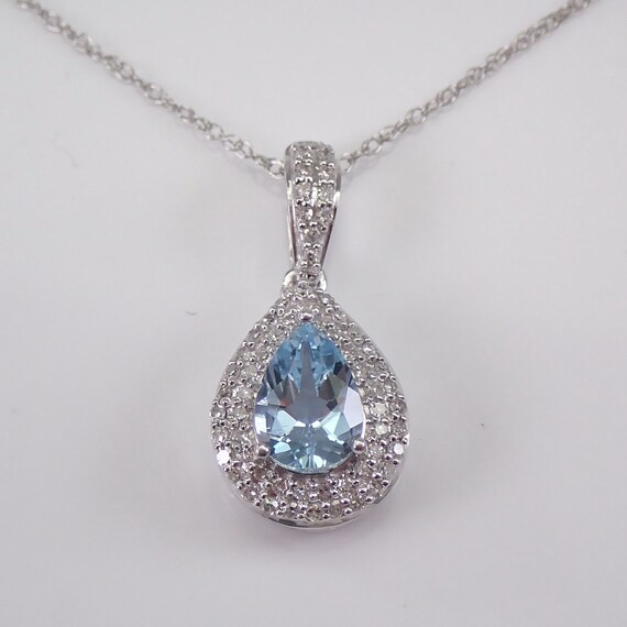 "Diamond and Aquamarine Halo Pendant 14K White Gold Necklace 18"" Chain Teardrop March Gem"