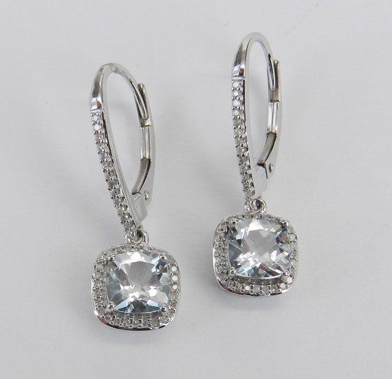 White Gold Aquamarine and Diamond Halo Drop Earrings Cushion Cut Aqua March Gemstone Leverback