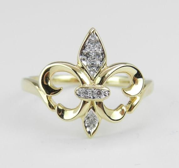 Diamond Fleur De Lis Ring 14K Yellow Gold Size 8.25