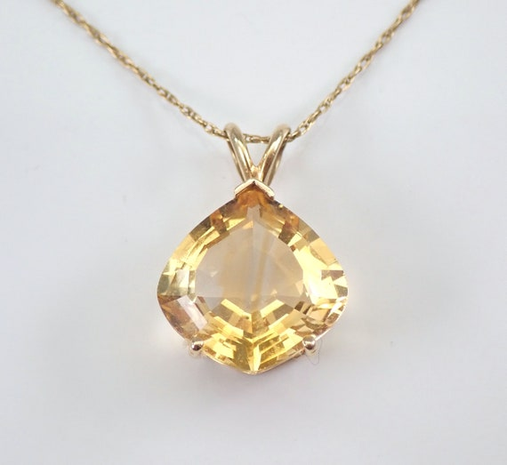 "Vintage Estate 14K Yellow Gold 7 ct Citrine Solitaire Pendant Necklace Chain 22"""