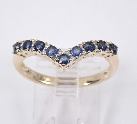 Modern Sapphire and Diamond V Wedding Ring Anniversary Stackable Band Size 7