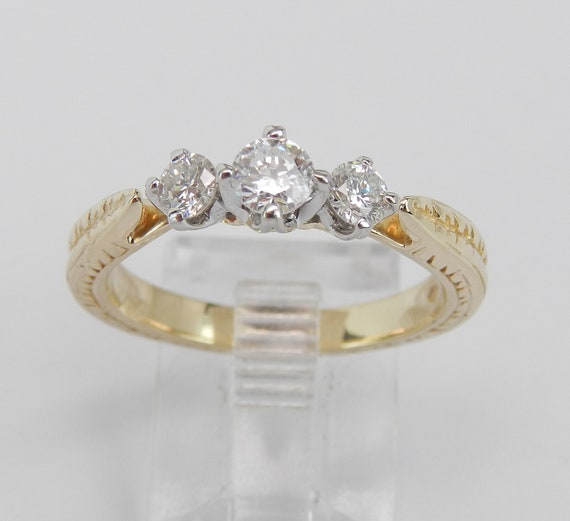 14K Yellow Gold Three Stone Round Diamond Engagement Ring Hand Engraved Size 7
