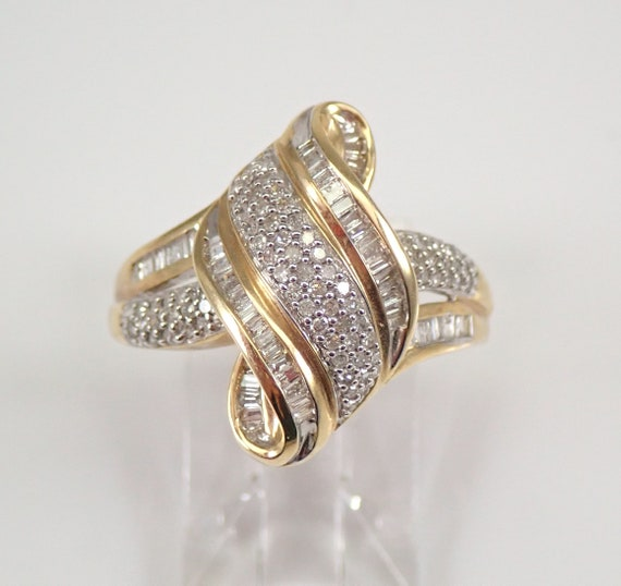 1/2 carat Diamond Cluster Cocktail Ring Right Hand Ring Yellow Gold Size 7 FREE Sizing