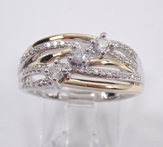 Diamond Wedding Ring Crossover Anniversary Band 14K White and Yellow Gold Size 7