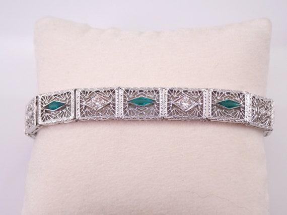 Antique Art Deco 14k White Gold Diamond and Emerald Filigree Bracelet Circa 1920