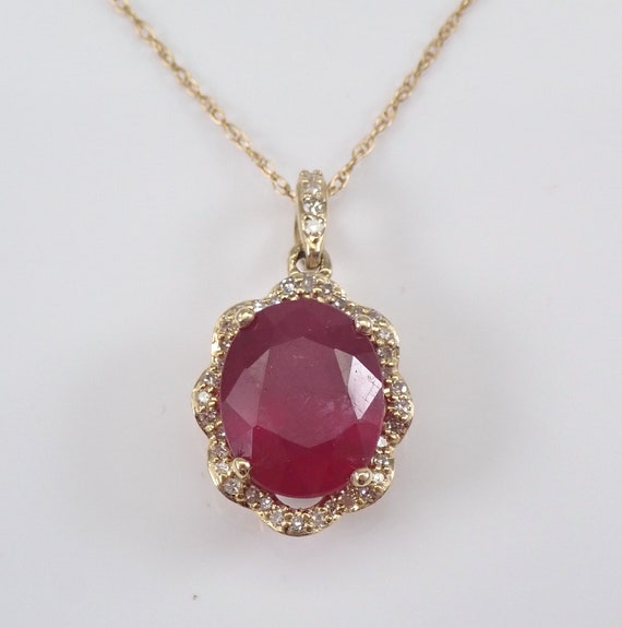 "2.20 ct Ruby and Diamond Halo Pendant Yellow Gold Necklace 18"" Chain July Gem"