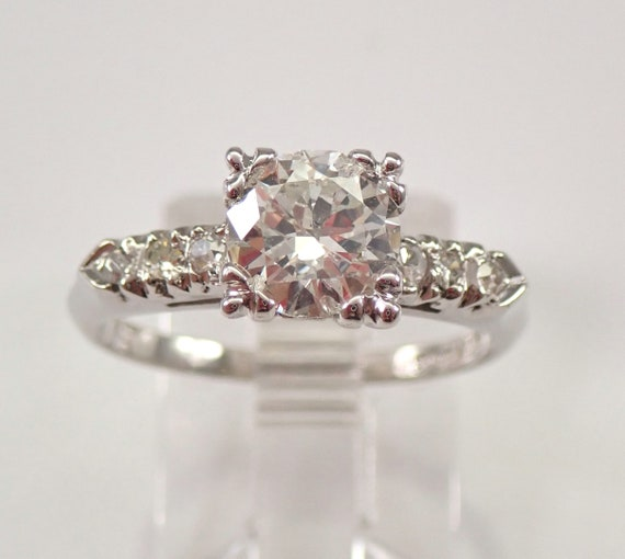 Antique Art Deco Platinum 1.06 ct Diamond Engagement Ring Natural Size 6.25