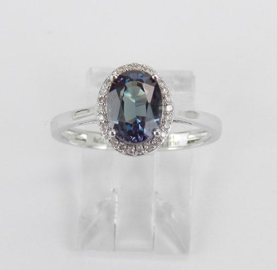 Alexandrite and Diamond Ring, Color Change Gemstone Ring, 14K White Gold Halo Ring, Alexandrite Engagement Ring, June Birthstone, Size 7