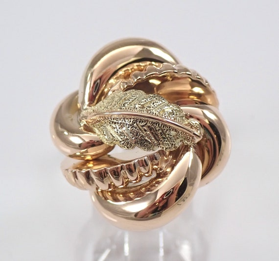 Vintage Antique 18K Rose and Green Gold Cocktail Ring Size 6.5 Autumn Leaf FREE Sizing