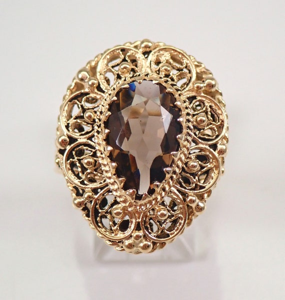 Antique Vintage Retro 14K Yellow Gold 4 ct Pear shape Smokey Topaz Solitaire Ring Size 9.5