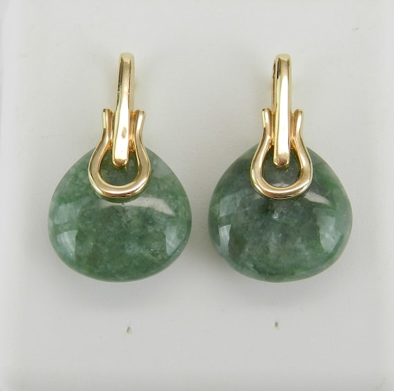 Jade Earrings, 14K Yellow Gold Jade Drop Earrings, Jade Stud Earring, Green Gemstone Earrings, Bridesmaid Gift