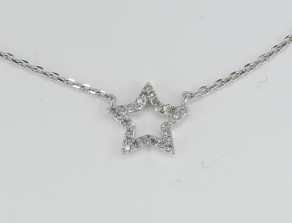 "Diamond Star Pendant Necklace White Gold 18"" Chain Wedding Gift"