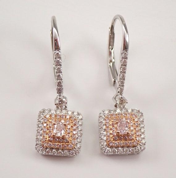 18K White Gold Cushion Cut Pink Diamond Dangle Halo Earrings MUST SEE