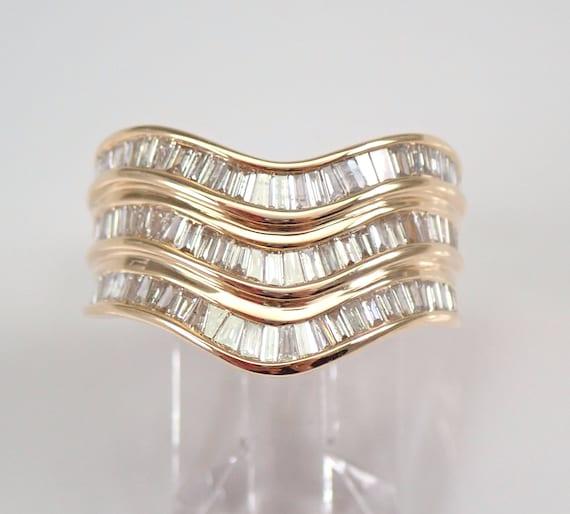 1.00 ct Baguette Multi Row Diamond Wedding Ring Anniversary Band Yellow Gold Size 7 FREE Sizing
