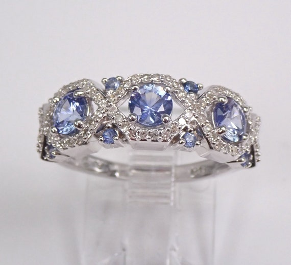 Tanzanite and Diamond Wedding Ring Stackable Wide Anniversary Band 14K White Gold Size 7