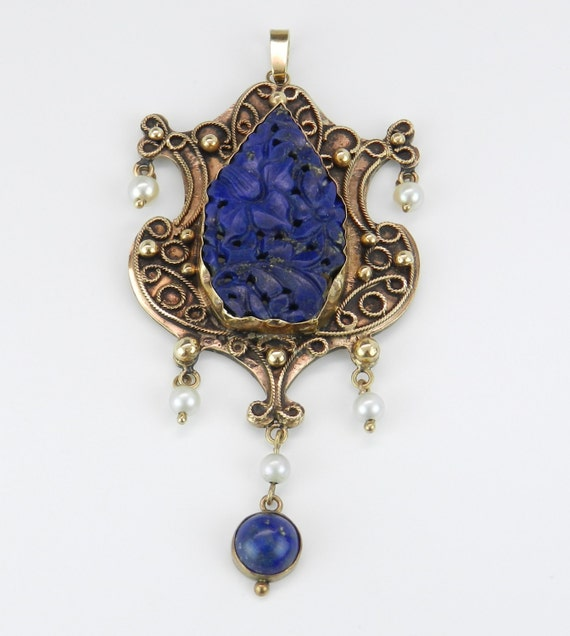 Lapis Lazulli and Pearl Pendant, Victorian Lapis Pendant, Edwardian Lapis Lazulli Necklace, 14K Yellow Gold Carved Lapis