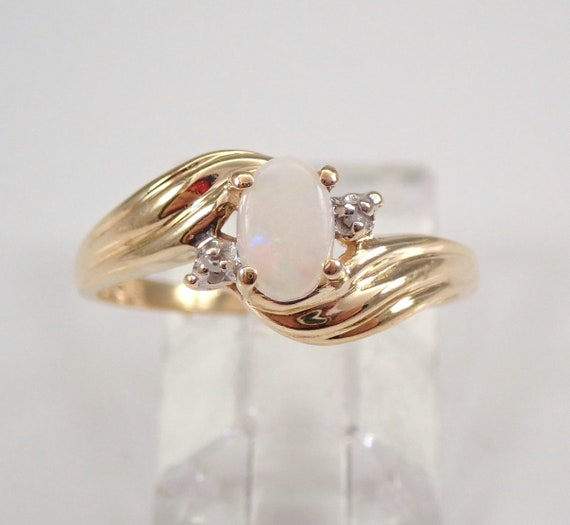 Vintage Antique 14K Yellow Gold Opal and Diamond Ring Size 6 October Gemstone