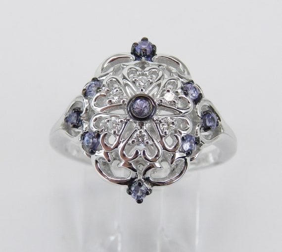Vintage Reproduction Style White Gold Diamond and Tanzanite Cocktail Cluster Ring Size 6.75 FREE Sizing
