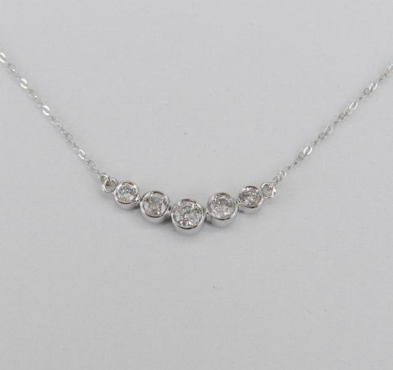 "Bezel Diamond Bar Necklace Pendant White Gold Wedding Necklace Chain 17"" Modern"