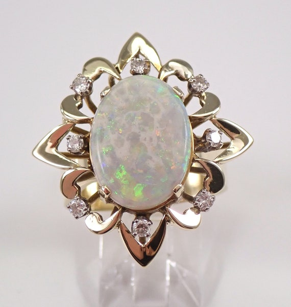 Vintage Antique 14K Yellow Gold Opal and Diamond Cocktail Ring Size 8.5